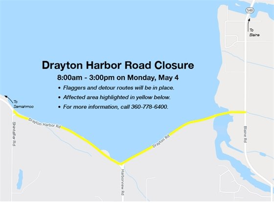 Map showing Drayton Harbor Road Closure.