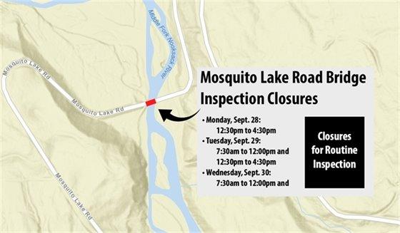 Mosquito Lake Road Bridge Inspection Closures Map.