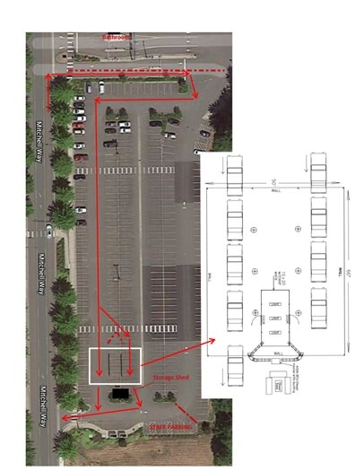 map of testing location at Bellingham International Airport lot A