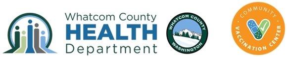 Whatcom county health department logo and whatcom community vaccine center log