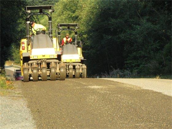 Chip seal roadway work