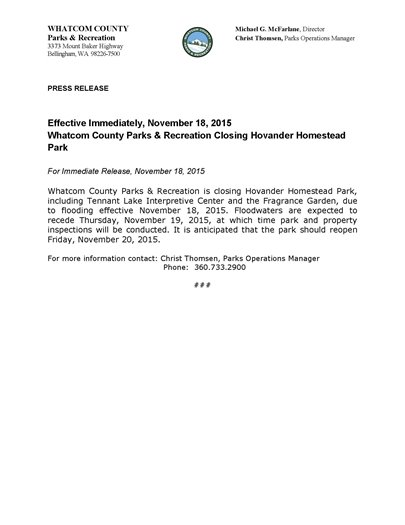 Whatcom County Parks & Recreation Closing Hovander Homestead Park - Press Release
