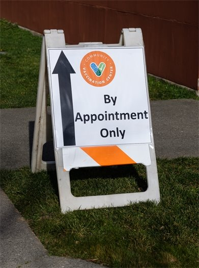 Photo of Community Vaccination Center sign