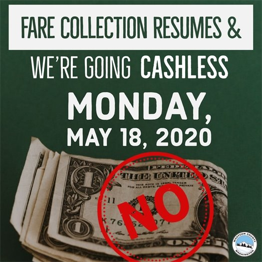 Graphic for cashless transactions and fare resumption on May 18.