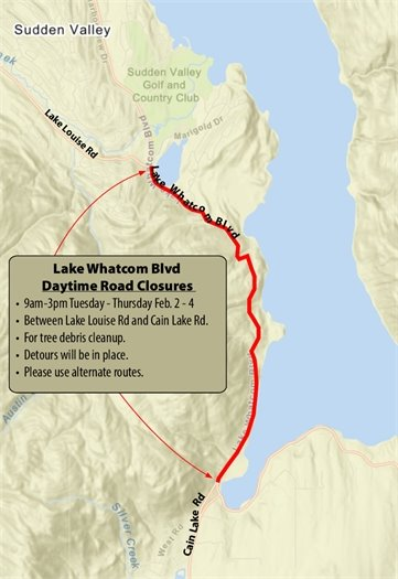 Lake Whatcom Boulevard Road Closure Areas