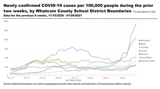 chart showing line graph over time of newly confirmed COVID-19 cases in Whatcom County doing the prior two weeks