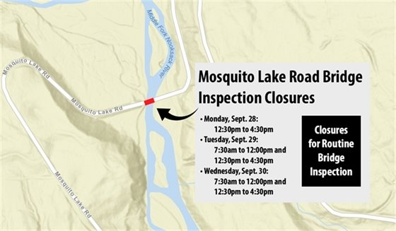 Map of bridge inspection location, Mosquito Lake Road over the middle fork of the Nooksack River