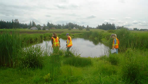 Team visiting the filed to check on water