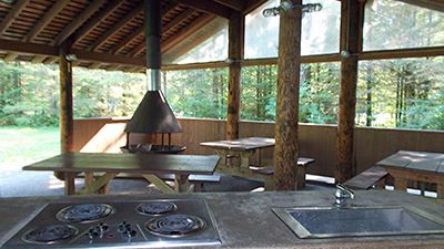 Silver Lake Red Mountain Picnic Shelter North Cooktop & Sink