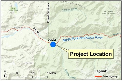 Glacier-Gallup Creeks Alluvial Fan Restoration Project Vicinity