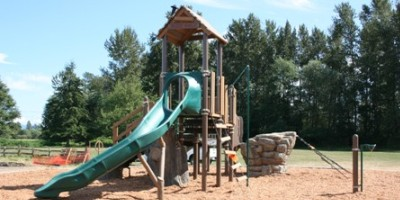 Jungle gym with a long green slide and a steep, wooden roof